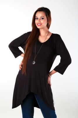 Momzjoy Casual 3/4 Sleeve Solid Women's Black Top