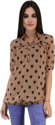 Terquois Casual 3/4 Sleeve Printed Women's Brown Top