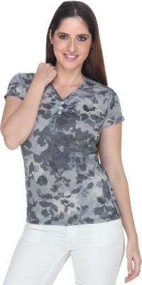 Fast n Fashion Casual Short Sleeve Geometric Print Women's Grey Top