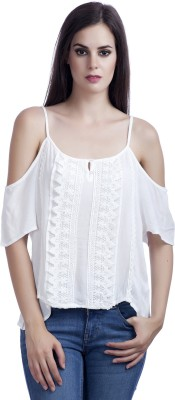 MansiCollections Casual Noodle strap Solid Women's White Top