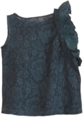 Nana Casual Sleeveless Solid Girl's Dark Blue Top