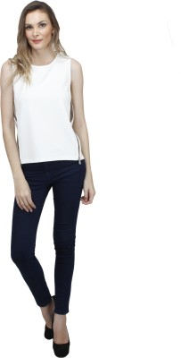 Pab Jules Casual Sleeveless Solid Women's White Top