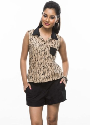 Moda Vastra Casual Sleeveless Printed Women's Brown, Black Top