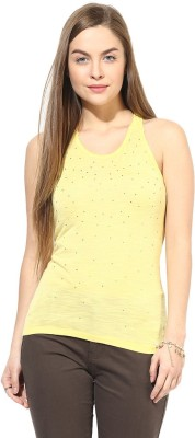 Latin Quarters Casual Sleeveless Solid Women,s Yellow Top