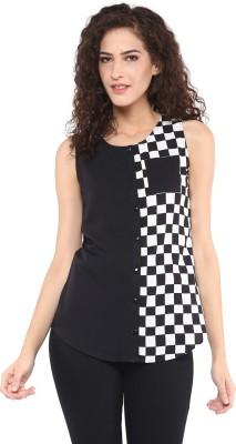 C2 Casual Sleeveless Checkered Women's Black Top