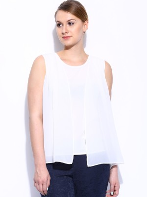 Mast & Harbour Casual Sleeveless Solid Women's White Top at flipkart