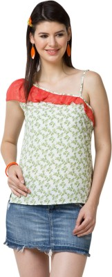 Yepme Casual Sleeveless Printed Women's Green, Red Top at flipkart