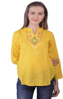 Lee Marc Casual 3/4 Sleeve Solid Women's Yellow Top
