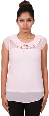 Aggana Casual Cape Sleeve Solid Women's Pink Top