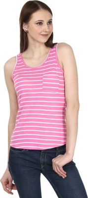 Ruse Casual Sleeveless Striped Women's Pink, White Top