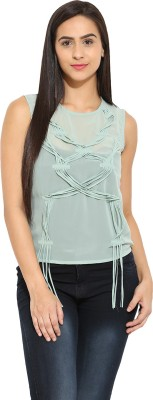 Why Knot Casual Sleeveless Solid Women's Green Top