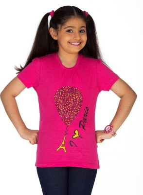 Ventra Casual Short Sleeve Embellished Girl's Pink Top