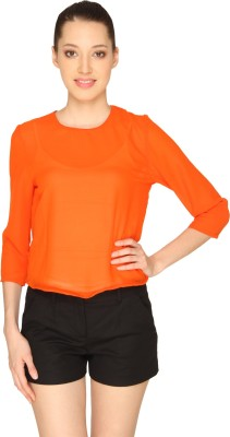 Ashtag Casual, Party 3/4 Sleeve Solid Women's Orange Top