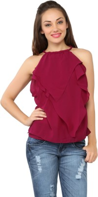 Tong Casual Sleeveless Solid Women's Purple Top