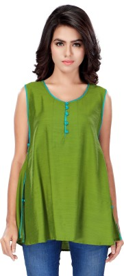 SFDS Casual, Formal, Party Sleeveless Solid Women's Green Top