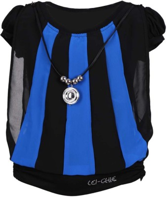 LEI CHIE Casual Short Sleeve Striped Girl's Blue Top