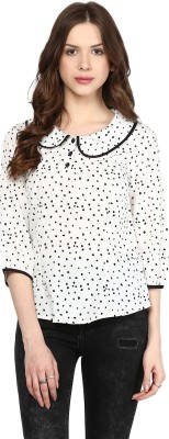 Citrine Casual 3/4 Sleeve Printed Women,s White, Black Top