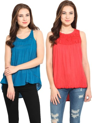 Free & Young Casual Sleeveless Solid Women's Blue, Orange Top