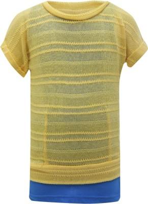 UFO Casual Short Sleeve Embellished Girl's Yellow Top