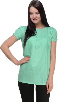 Pehraan Casual Short Sleeve Woven Women's Green Top