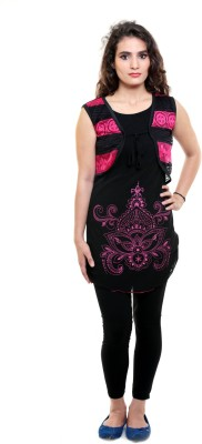 Sea Lion Casual Sleeveless Printed Women's Black, Pink Top