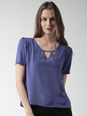 Mast & Harbour Casual Short Sleeve Solid Women's Purple Top