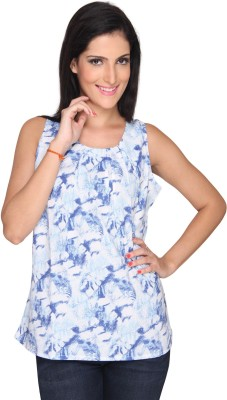 Bombay High Casual Sleeveless Printed Women's Blue Top