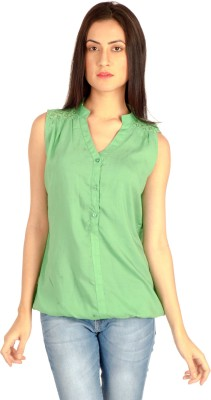 MIST ISLAND Casual Sleeveless Solid Women's Green Top