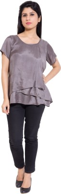 Simplona beau Casual Short Sleeve Solid Women's Silver Top