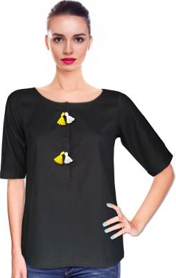 BeforeAfter Festive Short Sleeve Solid Women's Black Top