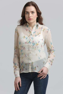 Moda Elementi Casual Full Sleeve Animal Print Women's White Top at flipkart