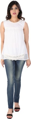 Dovekie Casual Sleeveless Self Design Women's White Top