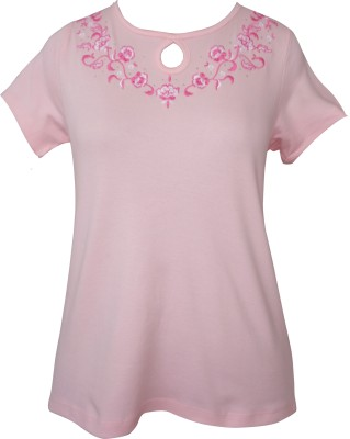 Girl Confidential Casual Short Sleeve Embroidered Women's Pink Top