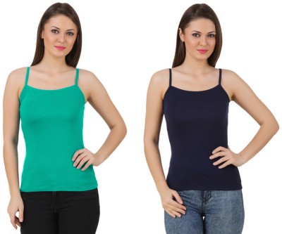 99DailyDeals Party, Casual, Sports, Beach Wear, Festive Sleeveless Solid Women's Green, Black Top