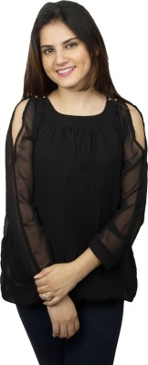 Kaaf Fashion Party, Casual Full Sleeve Solid Women's Black Top