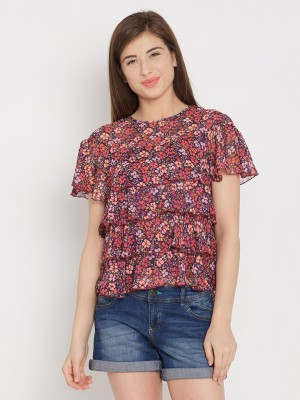 Anasazi Casual Short Sleeve Printed Women's Red Top
