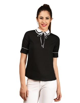 LA ATTIRE Casual, Formal Roll-up Sleeve Self Design Women's Black Top