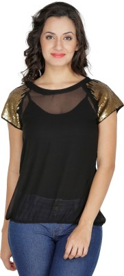 Mayra Party Short Sleeve Solid Women's Black Top at flipkart