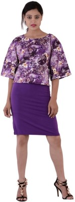 Fashnopolism Casual 3/4 Sleeve Self Design Women's Purple Top