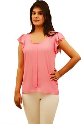 Virago Casual Short Sleeve Solid Women's Pink Top
