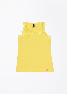United Colors of Benetton Casual Sleeveless Solid Girl's Yellow Top