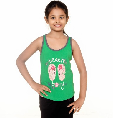 Menthol Lounge Wear Sleeveless Printed Girl's Green, Pink Top