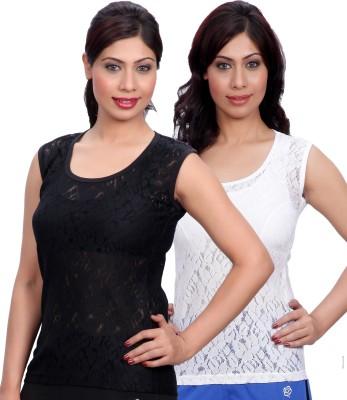 Selfcare Casual Sleeveless Self Design Women's Black, White Top