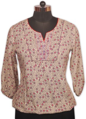 Indian Rain Casual 3/4 Sleeve Floral Print Women's White Top