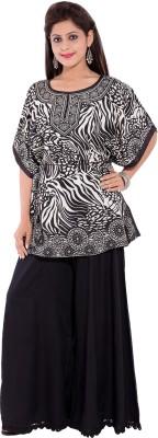 Tam Creatio Casual Short Sleeve Printed Women's Black Top