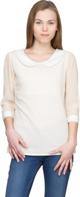Panit Casual 3/4 Sleeve Solid Women,s White Top
