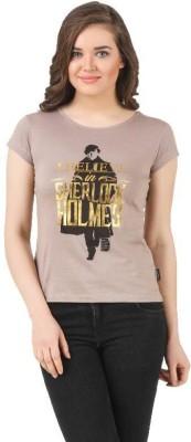 Sherlock Holmes Casual Short Sleeve Printed Women's Brown Top