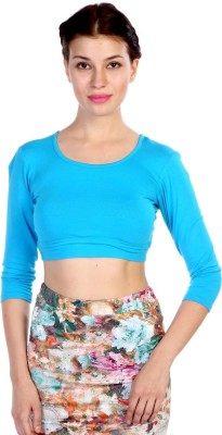 James Scot Lounge Wear 3/4 Sleeve Solid Women's Blue Top