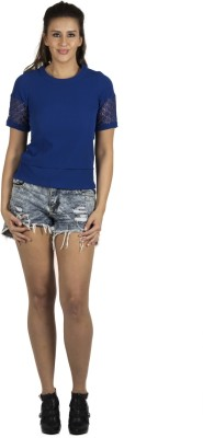 109F Casual Short Sleeve Solid Women's Blue Top