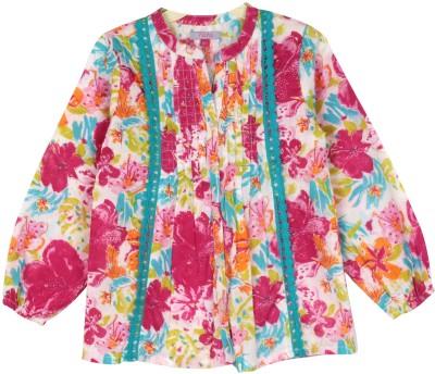 Nana Casual Full Sleeve Printed Girl's Pink Top